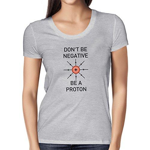 NERDO - Don't be a negative, be a Proton - Damen T-Shirt, Größe S, grau (Kinder Kostüm Chemiker)