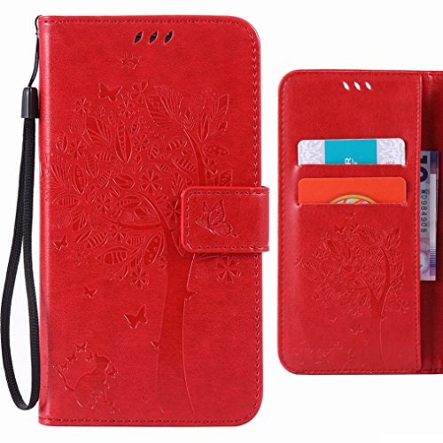 Custodia Xiaomi Rossomi Note 3 / Rossomi Note 3 Pro Cover Case, Ougger Fortunato Foglia Stampa Portafoglio PU Pelle Magnetico Stand Morbido Silicone Flip Bumper Protettivo Gomma Shell Borsa Custodie c Rosso