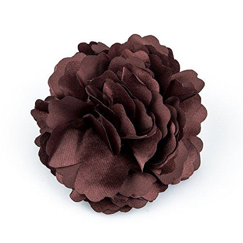 TOOGOO(R) Broche Barrette a Fleur de Pivoine pour Filles Femmes (Cafe)