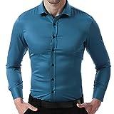 HARRMS Camisa Bambú Fibra de Hombre, Manga Larga, Slim Fit, Camisa Elástica Casual/Formal Para Hombres, Azul, 42