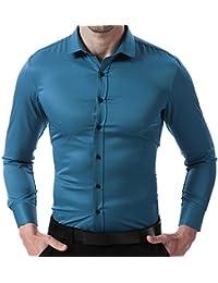 HARRMS Camisa Bambú Fibra de Hombre, Manga Larga, Slim Fit, Camisa Elástica Casual/Formal Para Hombres, 10 Colores Para Elegir