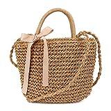 Pomelo Damen Handtasche Strohtasche kleine umhängetasche mit Schleife handgemachte Rattan Tasche