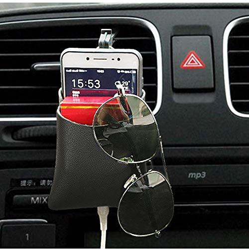Ecisi Car Air Vent Mobile Handytasche Tasche Aufbewahrungsbox Organizer Tragetasche, Kunstleder Auto Cradle Mount Münzschlüssel Fall Sonnenbrille Organizer mit Haken