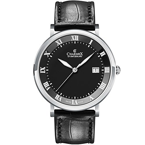 Charmex Men's Copenhagen 40.5mm Leather Band Steel Case Quartz Watch 2811