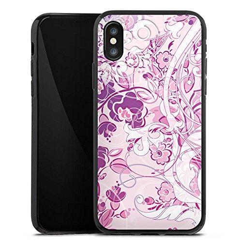 Apple iPhone X Silikon Hülle Case Schutzhülle Muster Blumen Floral Silikon Case schwarz