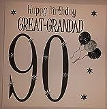Happy Birthday Card - Black & White balloons Great-Grandad 90 - Handmade Card