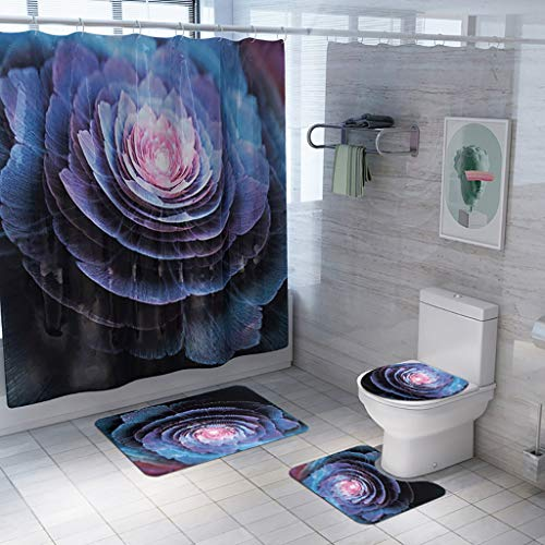 Voberry 4pcs tende da doccia poliestere impermeabile anti-muffa resistente tessuto 180 x 180 cm per tende doccia per vasca da bagno