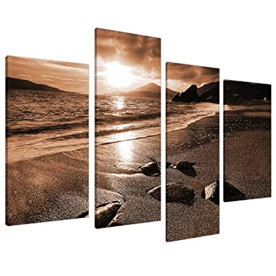 Large Brown Sepia Beach Canvas Wall Art Pictures 130cm Prints XL 4076 - cheap UK canvas store.