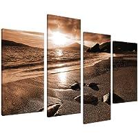 Large Brown Sepia Beach Canvas W