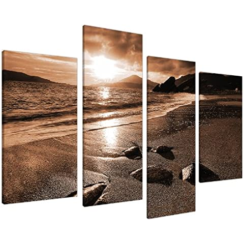 Large Brown Sepia Beach Canvas Wall Art Pictures 130cm Prints XL 4076 by Wallfillers