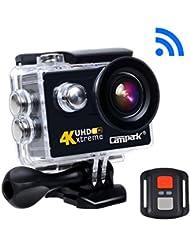 Campark® Caméra d'Action 4K UHD Wifi Caméra Sport, 170 ° HD Grand Angle Étanche Sous Marin 30m Caméscope Sportive Kit d'accessoires 2 Batterie Incluses + Sac Portable (Noir)