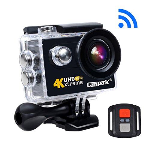 Campark® ACT73R UHD 4K Action Kamera Helmkamera Sports Action cam, WLAN, 30M wasserdicht, RF Fernbedienung,12MP,1080p/60fps, 170° Weitwinkel, Brust Foto, Zeitraffer, 2 akkus, Transporttasche mit viel Zubehör