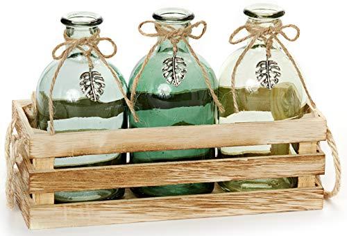 HEITMANN DECO - Holzkiste mit DREI Glasvasen -Vasen-Set in Deko-Kiste - grün - Blumenvase - mit Juteseil - Dekoration