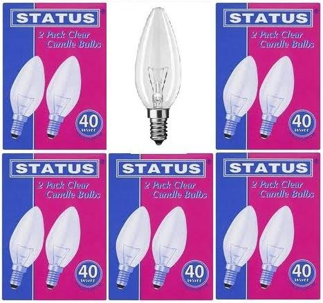 10 x STATUS 40W Classic Clear SES E14 Candle Light Bulbs, Small Edison Screw Cap, Dimmable Incandescent Lamps, 390 Lumen, Mains 240V