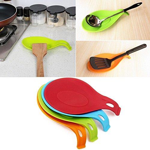 HENGSONG 1 pcs Silicone Reste Cuillère Ustensile de Cuisine Résistant à la Chaleur de Stockage pour Cuillères Spatules Pinceaux et Couverts (Rouge)