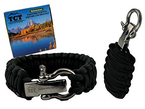 Paracord Granate und Paracord Armband Set. Beinhaltet über 21 Fuß Paracord und 17 versch. Überlebensteile, einschließlich einem Feuerstarter. Überlebens und Outdoor Ausrüstung als großartiges Geschenk für Frauen und Männer. (Black)
