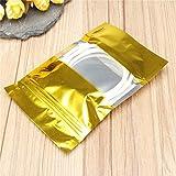 CHENXI Shop 100Gold Aluminium Folie Stand Up Taschen Zip Mylar Beutel der mit Fenster Lebensmittelqualität