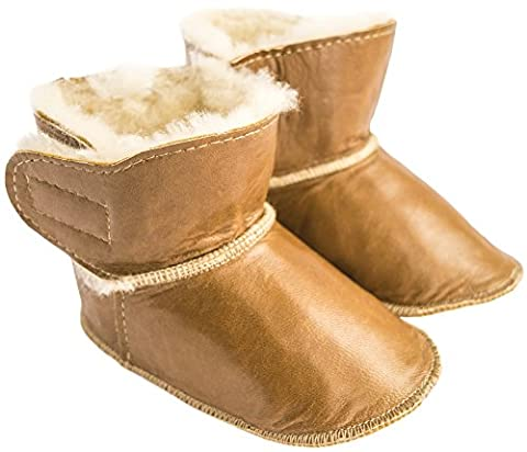 Ciora Baby Luxury Handmade 100% Lambskin Suede or Leather, Fleece-Lined Booties/Slippers/Pram Shoes, with Non-Slip Soles - GIFT BOXED (6 - 12 months, Chestnut
