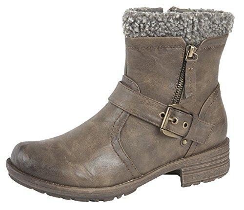 Donna Interna con zip e fibbia alla caviglia stivali Brown