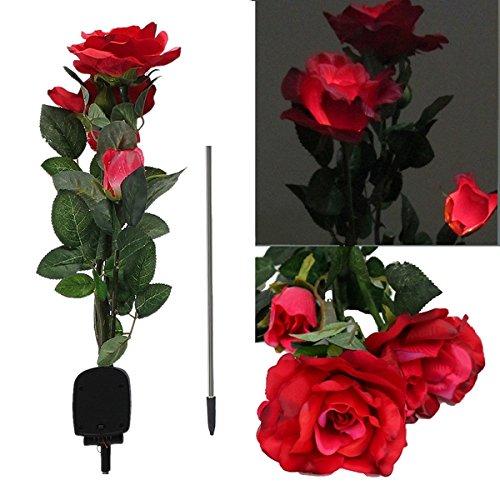 Bluelover 1 X Energia Solare 3 Led Rose Fiore Luce Giardino Esterno Cortile Pratoarredamento - Rosso