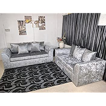 cheap online furniture DYLAN 3+2 Seater Sofa In Crushed Velvet Silver (3+2 SEATER)