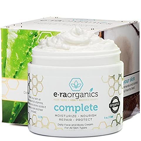 Natural Face Moisturizer Cream 120ml Advanced Healing 10-in-1 Non Greasy Formula with Organic Aloe Vera, Manuka Honey, Coconut Oil & More. Best Face Cream for Oily, Dry, Damaged & Sensitive