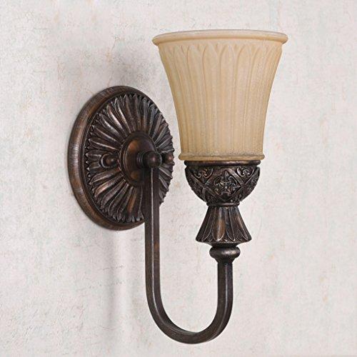 CS Spiegel Front Wandleuchte Kamm Tisch Wandleuchte Bar Antik Lampe Eisen Art Lampenkörper E27 Lampenkopf und Glas Lampenschirm (Art Glass Vintage Tisch Lampe)