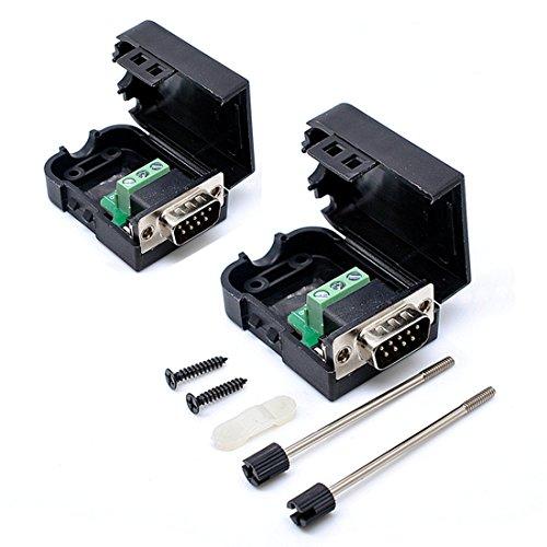willwin 2Pcs db9-g39Pins Stecker Adapter mit Mutter Anschluss RS232Seriell zu RXD TXD GND 235Terminal Male-Screw -