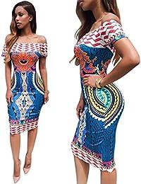 NINGNETI Las mujeres de impresión africana tradicional dashiki bodycon vestido de manga corta