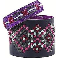 Avenue Mandarine - Sac Pix Tresor de 3 Bracelets Point de Croix, KC052C, Violet