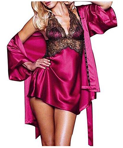 LAEMILIA Lingerie Femme Bretelle Babydoll Pyjama Dentelle Robe de Nuit Nuisette Robes de Chambre Kimonos (Rouge)