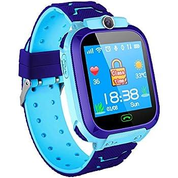 Hangang Reloj para niños con Pantalla táctil de 1.44 Pulgadas Reloj con posicionamiento LBS SOS SMS de comunicación bidireccional aplicación Gratuita ...