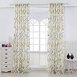 GWELL Elegant Blumen Vogel Druck 2-Schicht Vorhang Schal mit Ösen TOP QUALITÄT Gardine für Wohnzimmer Schlafzimmer 1er-Pack