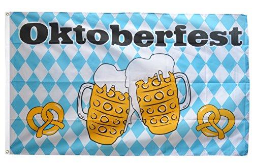 Fahne / Flagge Oktoberfest Bierkrug und Brezel + gratis Sticker, Flaggenfritze®