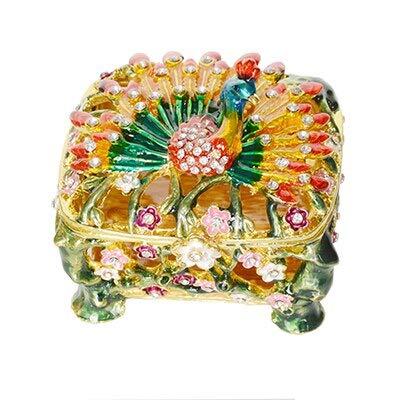WanTo Jeweled Pfau emailliert Schmuck Ring Box Metall Schmuck Fall für ihre Zinn Figur Sammlerstück Miniatur, gelb -