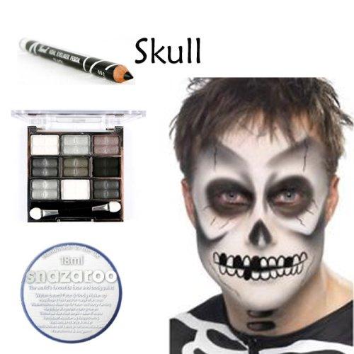 Gruseliges Halloween Totenkopf Make-up Komplettset: 1x schwarzer Eyeliner, 1x Lidschatten-Palette und 1x Snazaroo Gesichts-Palette weiß.