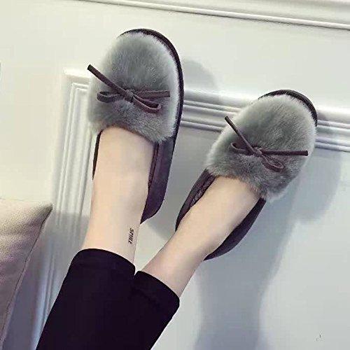 mhgao Mesdames Casual intérieur chaud en peluche coton pantoufles pantoufles gris