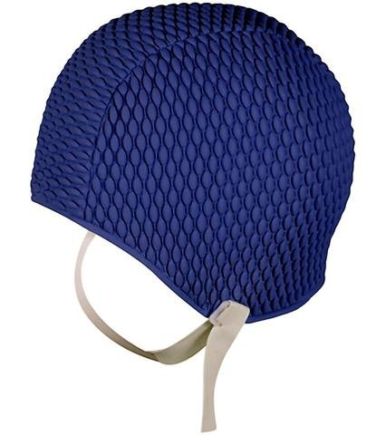 ladies-swim-hat-with-chin-strap-mens-swimming-cap-easy-to-put-on-navy-blue