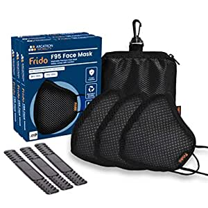 Frido Washable & Reusable 5 Layer Premium Face Mask with High Filtration, Breathable, Adjustable Strap to relieve ear pressure, Nose-pin for a Perfect Fit, Masks Pouch for Carry and Go (3 Pack)