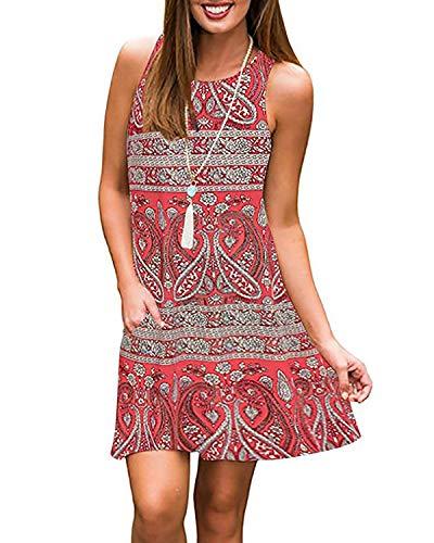 Abravo donna vestito estate casual vestiti da cerimonia sciolto mini maglietta t-shirt abito senza maniche vestiti estivi floreale boho abito da spiaggia abiti corto camicie (xl, rosso boho)