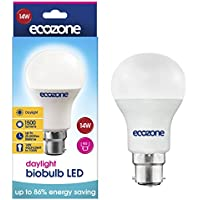 Ecozone LED biobulb, Energy Saving, Daylight Bulb, Bayonet Cap B22, 14W Equivalent to 100W, 1500 Lumens, 6500K Daylight, Up To 86% Energy Saving, B22 Fitting, Up To 25,000 Hours Lifetime, Energy Class A+, Ideal for Hobbies, Crafts and Photography
