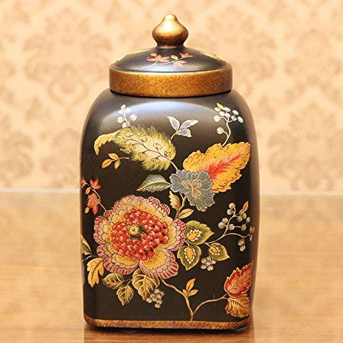 LILSN- Europeo - stile pastorale Storage Box Box creativa Home Furnishings decorato degli Stati Uniti - Stile di ceramica decorativa lattine Snack ( colore : Nero )