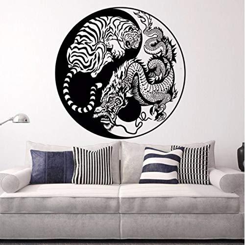 ljmljm Schwarz 57x57cm Drachentiger Yin Yang Figur Personalisierter Art Deco Wandaufkleber