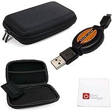 DURAGADGET KIT Funda / Estuche Rígido Para Navegador GPS + Cable MiniUSB-USB Retráctil + Paño Limpiador De Pantalla