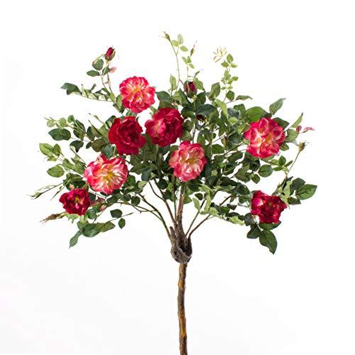 artplants.de Set 2 x Deko Rosenkugelbäume mit 8 Blüten und 4 Knospen, rot - rosa, 140cm - Künstliche Rosen - Künstlicher Baum