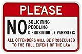 qidushop Funny Sign Gift no Soliciting Peddling distribuzione opuscoli nero rosso e bianco in metallo decorazione da parete Caution Sign 30x 45cm