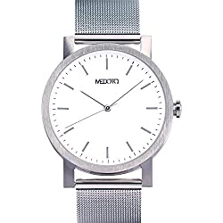 MEDOTA Stainless Steel Waterproof Watch Minimalist Umbra Series Swiss Watch Quartz Mens Watch - No. 21201 (White)