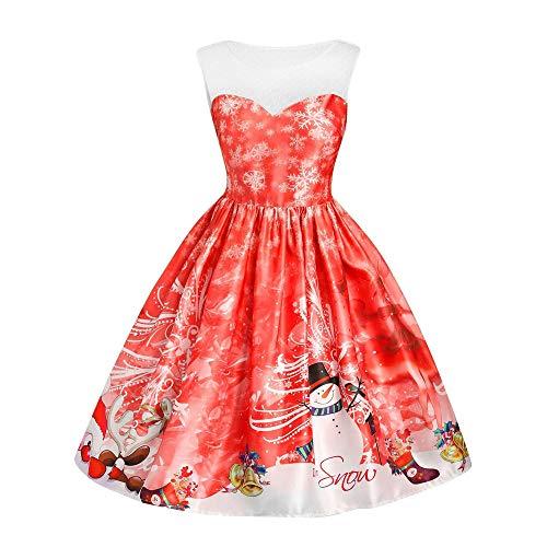 Sannysis Weihnachtenkleid Damen Vintage Ärmelloses Kleid Elegant Spitzennaht Abendkleid Weihnachten Party Kleid Cocktailkleid Festlich Drucken Knielanges Minikleid