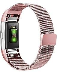 Fitbit Charge 2 Bracelet , Simpeak Acier Inoxydable Milanaise Bande Replacement Poignet Bande en Métal Fermoir pour Fitbit Charge 2