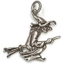 Bruja en la joyería colgante 925 plata esterlina escobas, longitud con ojal: 3 cm